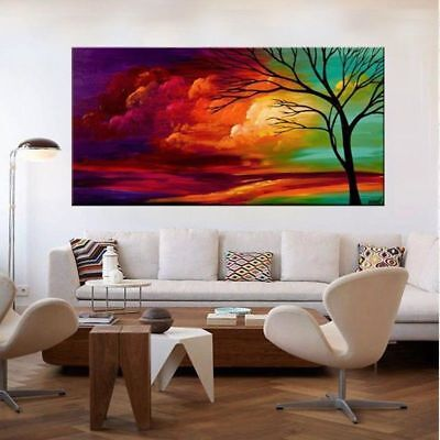 ZOPT08 100% Hand painted Abstract Landscape Tree oil painting on canvas wall art