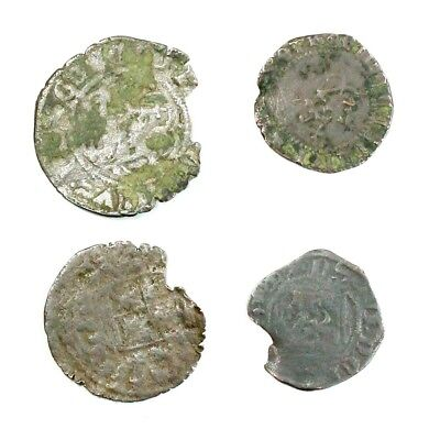 Group Lot of 4 Silver Medieval Coins Exact Lot Shown - 4545