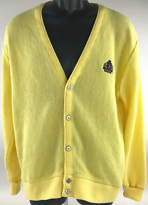 IZOD Crest Cardigan Sweater Mens Large Yellow Button Front Mr. Roger's Style