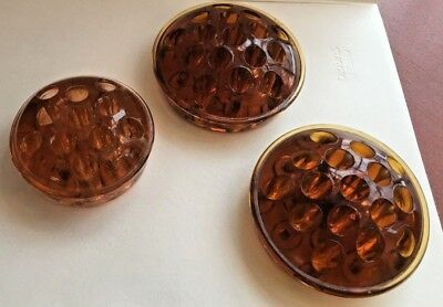Lot of three vintage amber glass flower frogs - great price!