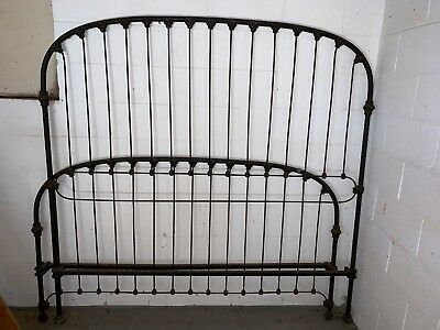 CATHOUSE-California King Size Vintage Cast Iron Bed  Headboard & Footboard