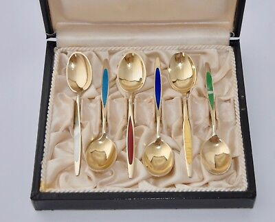Boxed set of 6 MEKA Denmark Sterling Silver & Guilloche Enamel Coffee Spoons