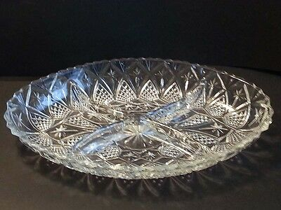 "crystal serving plate oval shape 4 section divided 11"" x 7"""