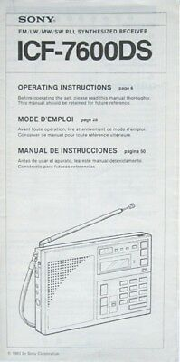 Sony Icf-7600Ds Radio Original Operating Instructions