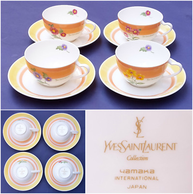 Vintage NEW Yves Saint Laurent Hand Painted China Tea Coffee Set YSL Tableware