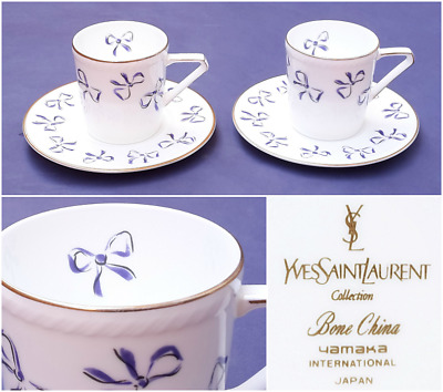 1970s Rare Vintage Tea Set Yves Saint Laurent Hand Painted Bone China Coffee Set