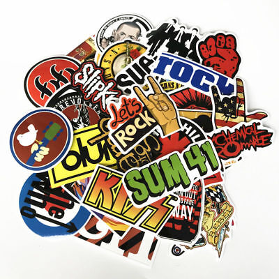 52X / lot Retro rock band music Stickers Grean Day Kennedys For guitar DIY Decal