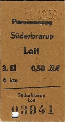 Railway tickets Germany Suderbrarup to Loit third class single 1959