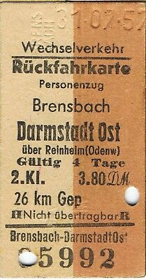 Railway tickets Germany Brensbach to Darmstadt Ost second class return 1957