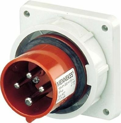 MENNEKES 827 Panel Mounted Inlet, IP 67 Protection Nickel Plated Contact