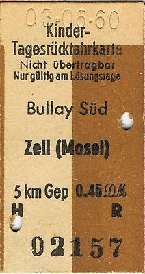 Railway tickets Germany Bullay Sud to Zell(Mosel) return 1960