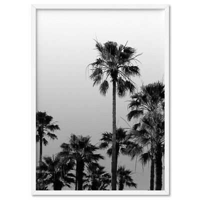 PALM TREES TROPICAL B&W - Wall Art Poster Print Canvas - On Trend Scandi
