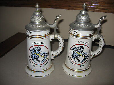 Pair Of Porcelain Regimental Beer Steins US Military 1955 Iceland Souvenirs