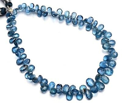 """Natural Gem Moss Aquamarine Faceted 6x4 to 9x6MM Pear Shape Briolette Beads 9.5"""""""
