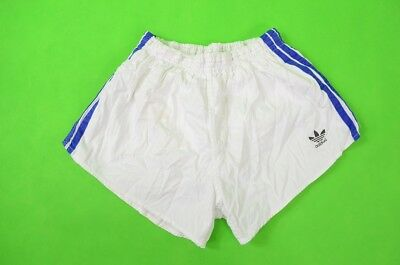 adidas SHORTS Glanz WHITE-BLUE Silky Retro Vintage 1980s SIZE D6 (M adults)