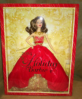 Holiday Barbie 2014 Collector Edition Brunette Doll Exclusive RED Dress New Box