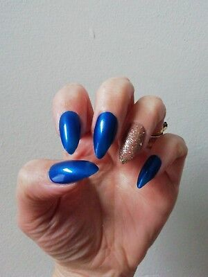 Hand Painted False Nails, Blue, Gold, Glitter, Coffin, Any