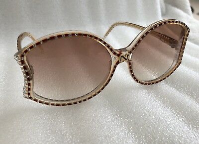 Vintage Nina Ricci Sunglasses Rhinestones In Clear & Brown Frames W/ Pink Lenses