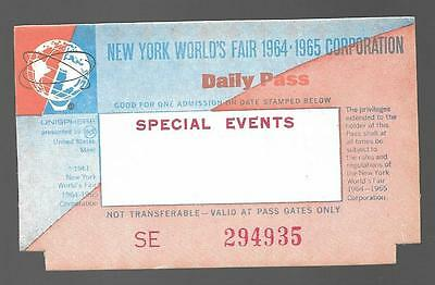1964-65 New York World's Fair Special Events Daily Pass Ticket