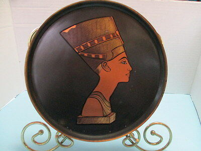 """Vintage Copper Wall Plate, """"egyptian Queen Nefertiti"""", 8.5"""", Quality Detail"""