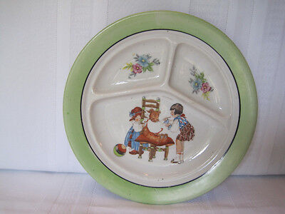 Made In Japan Childs 3 Section Ceramic Plate Girls Feeding Teddy Bear Green Trim