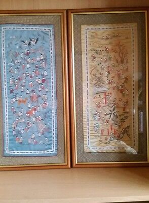 Chinese Silk Embroidered wall Hangings X 2 depicting 100 children