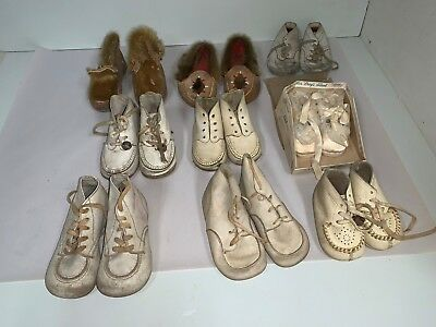 9 Pairs of Antique Vintage Baby Footware Leather Shoes Moccassins