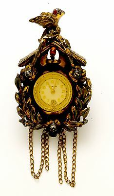 Unusual Delmark Cuckoo Clock Form Ladies Lapel Watch