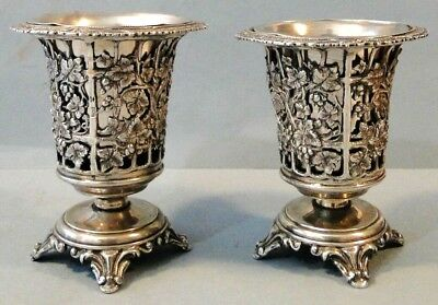 Antique Rare Ornate Pair Ottoman Solid 900 Silver Spoon Holders 925 Gr Superb