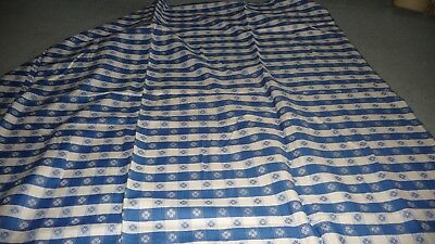 "#1229 vtg TABLECLOTH  60"" x 56""  BLUE & WHITE checker board w flowers"