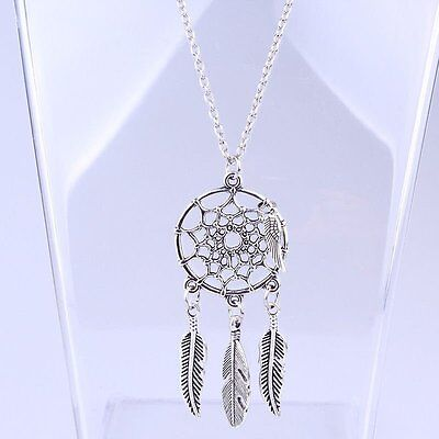 Feather Leaf Dreamcatcher Pendant Chain Necklace Women Fashion Jewelry Gift