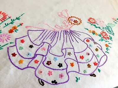 "Vintage Hand Embroidered Crinoline Lady Linen Tablecloth 42"" X 40.5"""