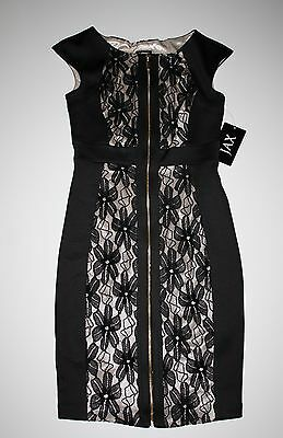 6364ef67 NWT JAX Black Floral Lace Exposed Zip-Front Cap-Sleeve Sheath Dress 4 $138