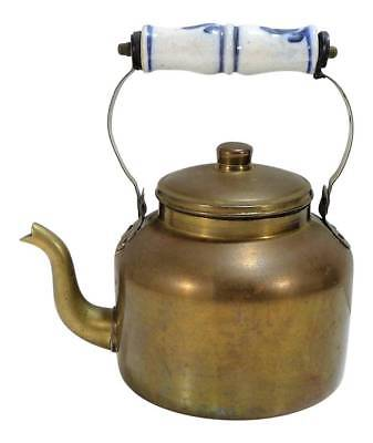 VINTAGE Brass Teapot ~ Hot Water Kettle w Blue and White Porcelain Handle