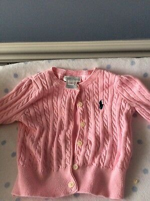 INFANT GIRLS RALPH LAUREN Pink CABLE KNIT CARDIGAN SWEATER SIZE 9 MONTHS