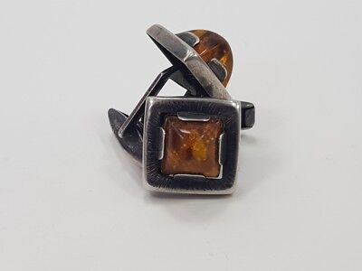 RR Beautiful collectible German 835 silver cuff-links with amber 20th century