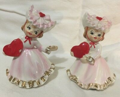 """Vintage Lefton Valentine Day set of two girl figurines #1435 4"""" tall"""