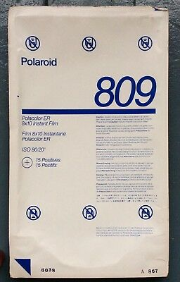 NEW,OLD STOCK,POLAROID 809 POLACOLOR ER 8 x 10,15 SHEETS IN SEALED CONTAINER