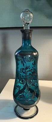 Vintage Mid Century Modern Glass Teal Silverplate Decanter With Stopper