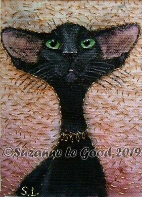 ACEO Oriental Black cat painting embroidery fabric art original Suzanne Le Good