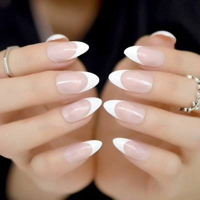 Clear White Nude French Press On Nails Stiletto False Nail Women Manicure Tools