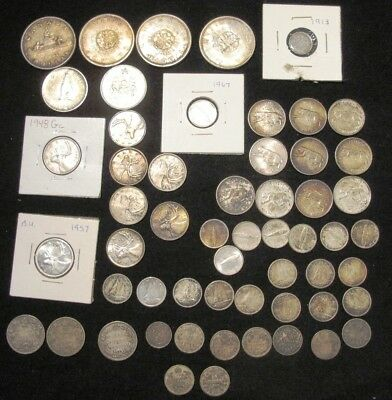 Canadian Silver Coins  Dollars Fifty Cent ,25 Cent ,dimes ,5 Cents  Total $13.05