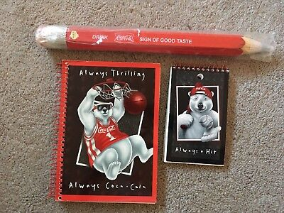 Coca Cola Giant Pencil And 2 Coke Notepads