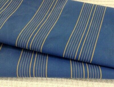 Antique  French ticking fabric cotton blue & gold stripe  RARE! early 1900's