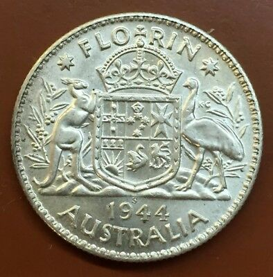 "1944-S Australian ""Great Britain George VI"" Silver One Florin Coin World #3"