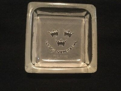 Vintage Ocean Liner Ship Pin Tray/Ashtray - Swedish America Line - Frosted Glass