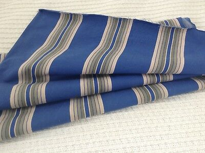 Antique  French ticking fabric cotton blue olive stripe  RARE! early 1900's