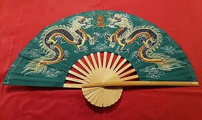 """Large Vintage Bamboo Folding Fan with Beautiful Dueling Dragons (24"""" x 40"""")"""