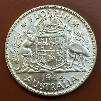 "1944-S Australian ""Great Britain George VI"" Silver One Florin Coin World #8"