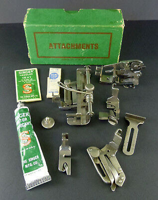 10 Pc Lot of Vintage Singer Sewing Machine Attachments Low Shank Foot Feet